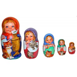 "Matrioshka doll ""Children with Cats"""